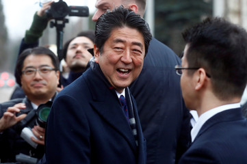 Japan's Prime Minister Shinzo Abe after visiting a former home of Chiune Sugihara, a Jew-saving Japanese diplomat in Kaunas