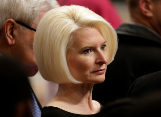 U.S. Ambassador to the Holy See Callista Gingrich looks on as Pope Francis leads a special mass to mark International Migrants Day in Saint Peter's Basilica at the Vatican