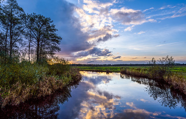 Rural river reflection sky clouds nature field landscape