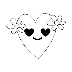 dotted shape heart with flowers in love kawaii cartoon