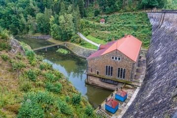 Hydroelectric station of dam on River Kwisa near Zlotniki village in Poland