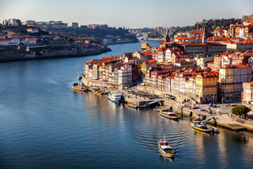 Beautiful cityscape, Porto, Portugal, old city. View of the city and the river. A popular destination for traveling in Europe