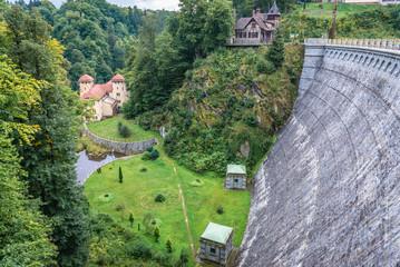 Dam on River Kwisa in Lesna village in Poland