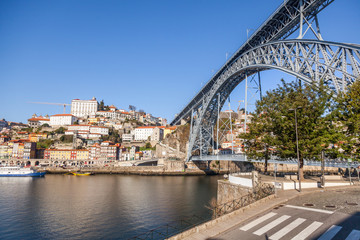 Beautiful cityscape, Porto, Portugal, old city. View of the famous Luis bridge first. A popular destination for traveling in Europe