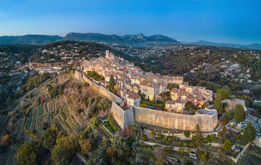 Spoed Fotobehang Luchtfoto Aerial view on Saint Paul de Vence fortified medieval village, Alpes-Maritimes, France