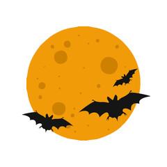 Moon and bat icon. Halloween sign. Vector Illustration