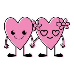 color nice hearts couple kawaii with arms and legs