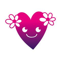 silhouette smile heart with flowers kawaii cartoon
