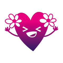 silhouette happy heart with flowers kawaii cartoon