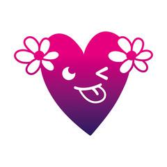 silhouette funny heart with flowers kawaii cartoon