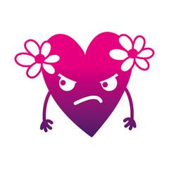 silhouette angry heart with flowers kawaii cartoon