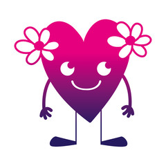 silhouette smile heart with flowers kawaii with arms and legs