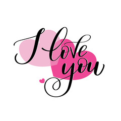 I love you romantic text on pink hearts, Calligraphic love lettering