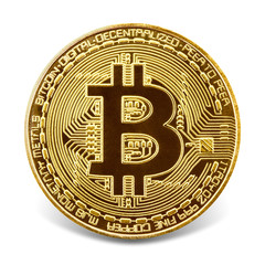 Golden bitcoin isolated on the white background.