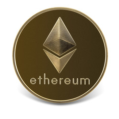 Ethereum coin isolated on the white background.