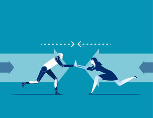 Competition. Business people and Robot conflict. Concept business vector illustration. Flat design style.
