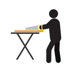 Man working with hand saw silhouette icon