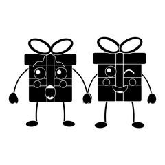 Papiers peints Rouge, noir, blanc kawaii christmas gift box ornament with bow