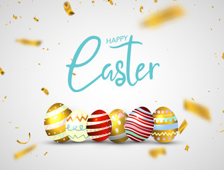 Happy Easter eggs isolated on white background. party celebration gold confetti.