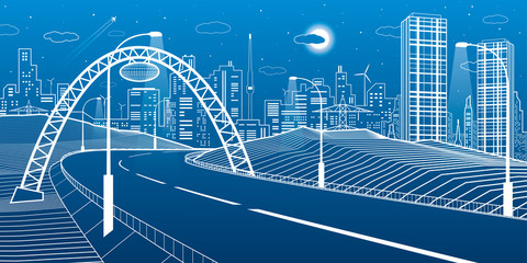 Wall Mural - Highway under the bridge. Modern night town, neon city. Infrastructure illustration, urban scene. White lines on blue background. Vector design art