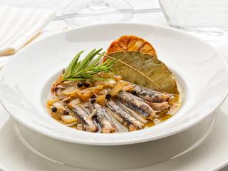 Marinated sardines Mediterranean dish