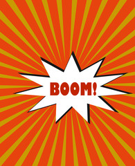 yellow orange rays cartoon burst explosion vector background with star bubble text boom!