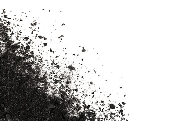 Pile of Carbon charcoal  splash isolated on white background top view