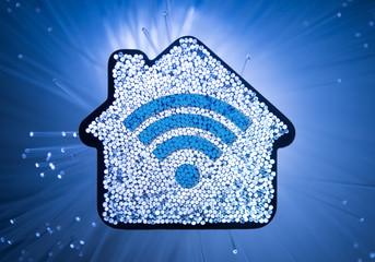Smart House concept on fiber optic background