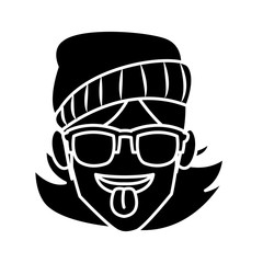 Woman with sunglasses and tongue out icon vector illustration graphic design