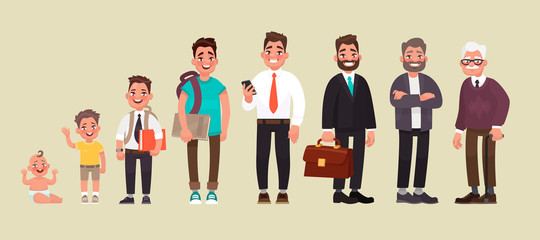 Character of a man in different ages. A baby, a child, a teenager, an adult, an elderly person. The life cycle