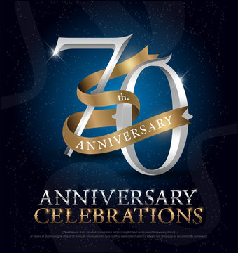 70th years anniversary celebration silver and gold logo with golden ribbon on dark blue background. vector illustrator