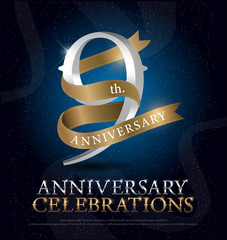 9th years anniversary celebration silver and gold logo with golden ribbon on dark blue background. vector illustrator