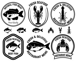 Set of seafood labels. Fish, squid, lobsters. Design elements for logo, label, emblem, sign.