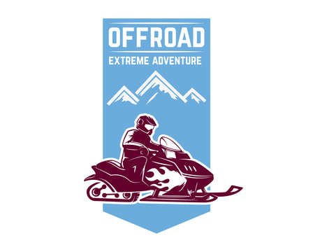 Offroad extreme adventure. Emblem template with snowmobile. Design element for logo, label, emblem, sign.