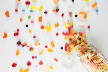 Sweets spilled from jar