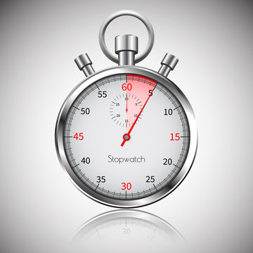 5 seconds. Silver realistic stopwatch with reflection. Vector
