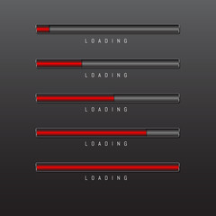 progress bar and loading red color on black background vector