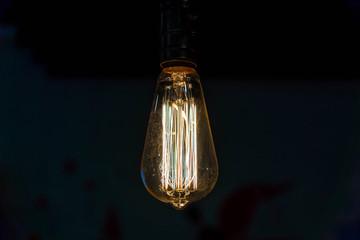 Close up hanging light bulbs