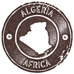 Algeria map vintage stamp. Retro style handmade label, badge or element for travel souvenirs. Brown rubber stamp with country map silhouette. Vector illustration.