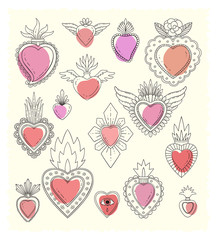 Sacred mexican heart doodle set