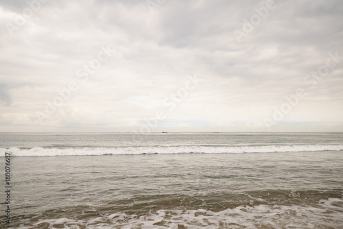 Ocean Waves On Santa Monica Beach In Cloudy November Day