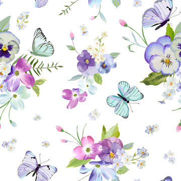 Floral Seamless Pattern with Blooming Flowers and Flying Butterflies. Watercolor Nature Background for Fabric, Wallpaper, Invitations. Vector illustration