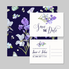 Save the Date Card with Iris Flowers and Butterflies. Floral Wedding Invitation Templates Set. Botanical Design for Greeting Cards. Vector illustration