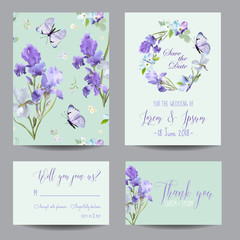 Save the Date Card with Iris Flowers and Flying Butterflies. Floral Wedding Invitation Templates Set. Botanical Design for Greeting Cards. Vector illustration