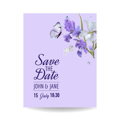 Save the Date Card with Flowers and Butterflies. Floral Wedding Invitation Template. Botanical Design for Greeting Cards. Vector illustration