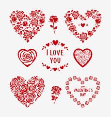 Set of decorative floral hearts for wedding design. Valentine's Day hearts and floral love elements. Vector illustration