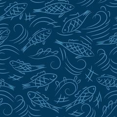fish seamless vector pattern