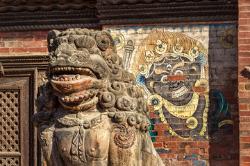 Lion Sculpture in front of Patan Museum, Lalitpur Durbar Square, Nepal