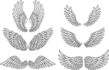 Heraldic wings set for tattoo or mascot design Wall mural
