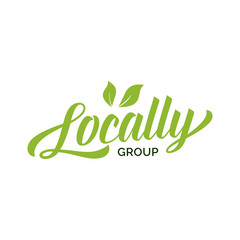 Locally Group Lettering with Green Leaves